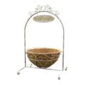 White French Country Scroll Welcome Stand With Basket