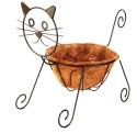 10-Inch Rustic Cat Shaped Planter With Coco Liner