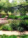 86 x 78-Inch Black Lattice Garden Arbor