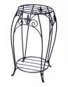 20-Inch Black Double Plant Stand With Finial