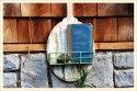 Wood Wall Shelf With Wire Basket