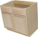 36 x 34-1/2 x 24-Inch Premium Hickory Ready-To-Finish Sink Base Cabinet