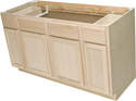 60 x 34-1/2 x 24-Inch Hickory Premium Ready To Finish 4-Door Sink Base Cabinet