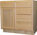 36-Inch X 21-Inch X 34-Inch Unfinished Oak Vanity With Drawers