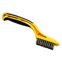 Stainless Steel Mini Wire Brush With Built-In Plastic Scraper