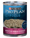 13-Ounce Pro Plan Focus Adult Sensitive Skin & Stomach Wet Dog Food, Salmon & Rice Recipe