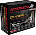 Defender 9mm Luger +p, 124 Grain Bonded Jacketed Hollow Point Ammunition, 20-Count