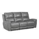 Laurel Leather Gray Power Reclining Sofa