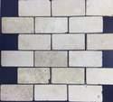 2-Inch X 4-Inch Crema Tumbled Mosaic Tile