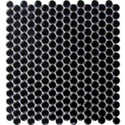 12-Inch X 12-Inch Glossy Black Penny Round Mosaic Tile