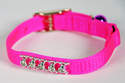 10-Inch Hot Pink Nylon Fashion Jeweled Cat Collar