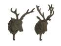 12-Inch Aluminum Deer Head Wall Hook, Set Of 2
