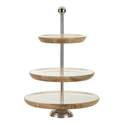 3-Tier Wood & Metal Round Stand