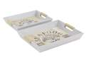 Seafood White Wood Tray, Set Of 2