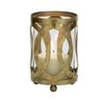 4 x 7-Inch Gold Metal & Glass Lantern Candle Holder