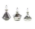 Silver Bottle With Glass Stopper, Set Of 3