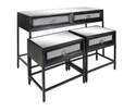 Metal And Wood Mirrored Console Tables, Set Of 3