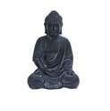 12 x 8-Inch Black Fiber Stone Buddha