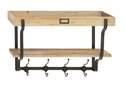 17 x 26-Inch Wood & Metal Wall Shelf With Hooks