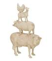 14 x 18-Inch Hen, Goat, Pig & Cow Stacking Animals Polystone Statue