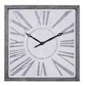 25-Inch Square Metal & Wood Wall Clock