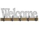 32 x 10-Inch Wood Welcome Wall Sign With Hooks