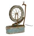 8 x 27-Inch Gray Metal Wheel Fountain