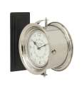 12 x 12-Inch Stainless Steel Wood Double Wall Clock