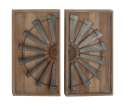 17 x 31-Inch Wood And Metal Wall Panel, Set Of 2