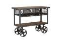 48-Inch Teak Metal Cart With Baskets