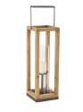 9 x 26-Inch Wood Metal And Glass Lantern