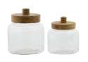 5 And 6-Inch Glass Wood Jar, Set Of 2