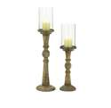23-Inch Wood & Glass Candle Holder