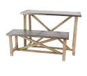 Metal And Wood Table With Bench, Set Of 2
