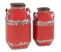 15 And 13-Inch Metal Red Milk Can, Set Of 2
