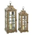 27-Inch Wood & Glass Lantern Candle Holder