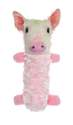 Fur Realz Small Pig Tubular Squeaker Pals Plush Dog Toy