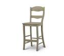 Peg & Dowel Harvest White Ladder Back Barstool With Wooden Seat
