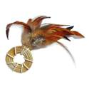 Natural Straw Ring With Feathers