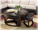 Signature Design By Ashley T477-8 Marion - Dark Brown Finish Cocktail Tbl W/4 Stools (5/Cn)
