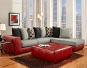 Affordable Furniture 6351/6352 Sectional Sierra Red