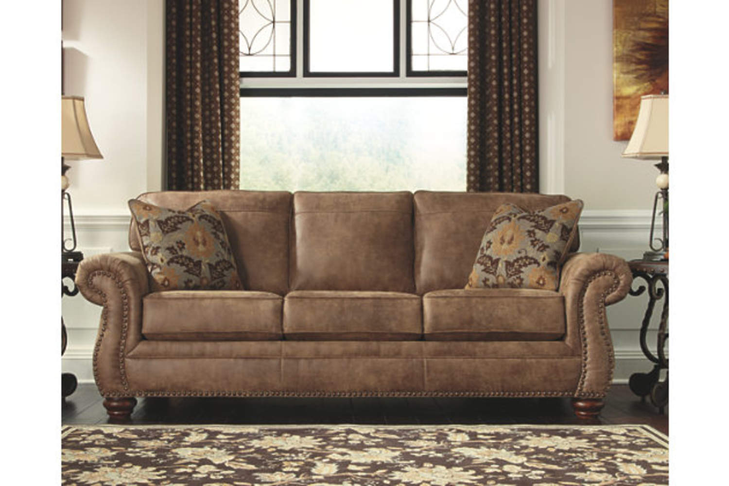 Signature Design By Ashley 3190138 Earth Colored Larkinhurst Sofa At Sutherlands