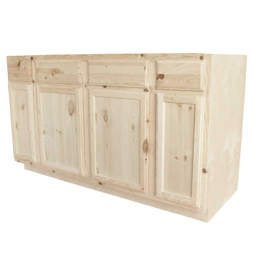 Knotty Pine Cupboards: KAPAL WOOD PRODUCTS SBC60-PFP 60 In Unfinished Knotty Pine