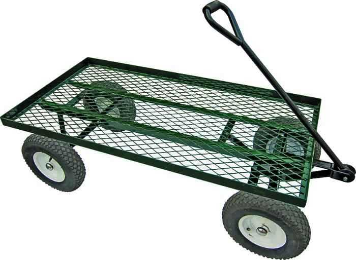 Landscapers Select YTL22115 1200 Pound Load Capacity Steel Garden Cart With  Comfort Grip Handle
