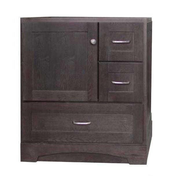 Osage Cabinet Mvr 3021 Dl Dk 3 Drawer Left Door Vanity 30x21 Mocha At Sutherlands