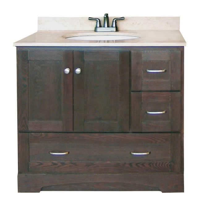 Osage Cabinet Mvr 3621 D Dk 3 Drawer Vanity 36x21 Mocha At Sutherlands