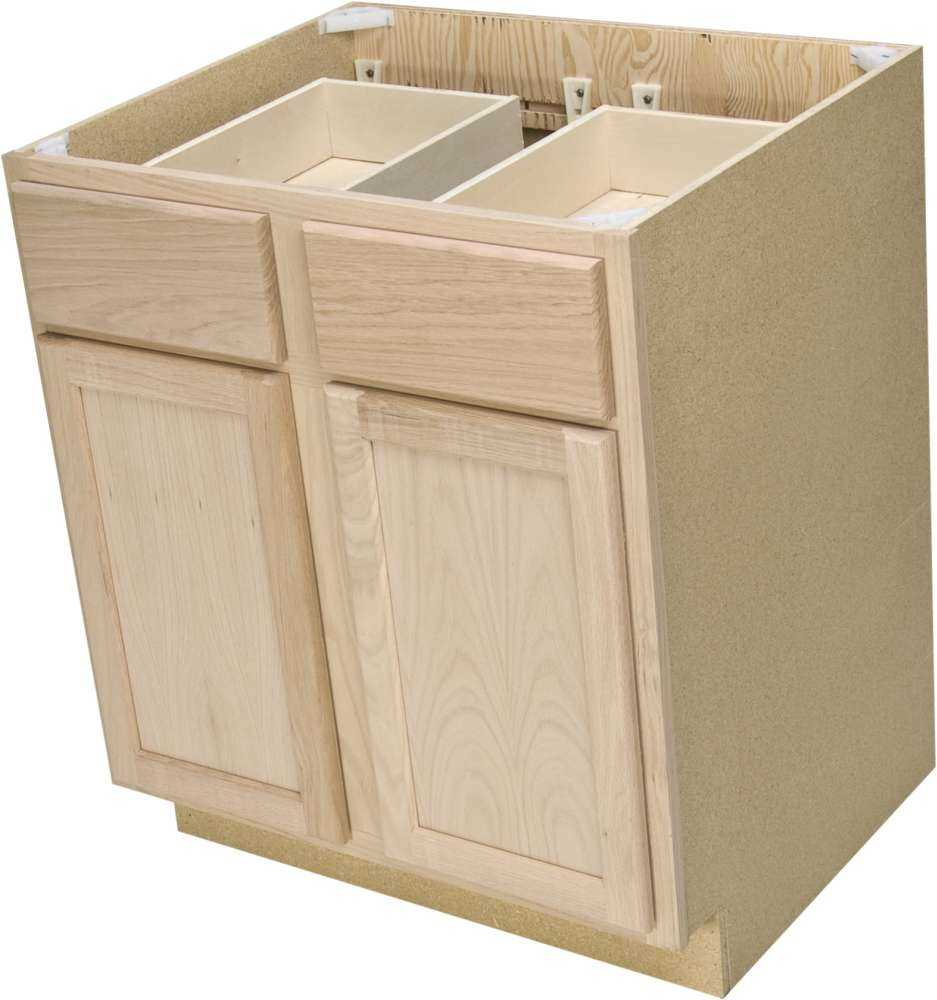 Quality one woodwork b30 30 in unfinished oak base cabinet for Quality cabinets
