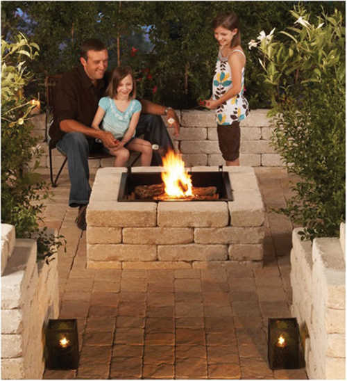 Pavestone ssk53624 rumbled wall stone firepit kit at for Sutherlands deck kits