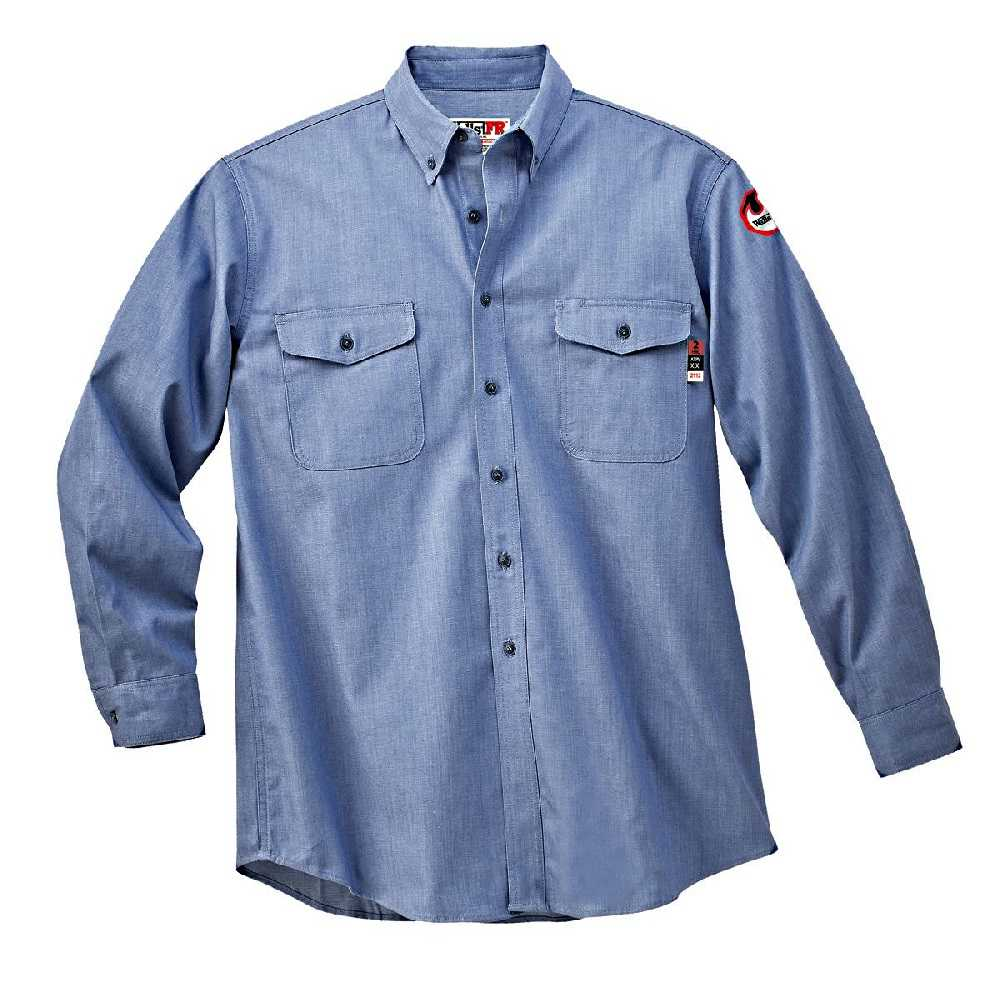 Walls fro56388j medium blue flame resistant button down for Flame resistant work shirts