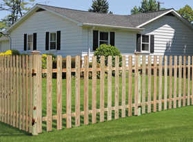 Sutherland Lumber 42 in X8 FENCE 42 in X 8 Treated Dog Eared Fence Section 1x4 Spaced